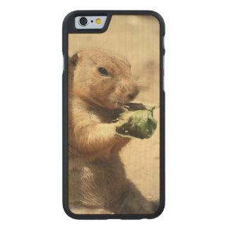 Perro de las praderas atado negro funda de iPhone 6 carved® de arce