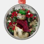Perro de las praderas del navidad adorno