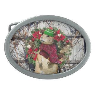 Perro de las praderas del navidad hebillas cinturón ovales