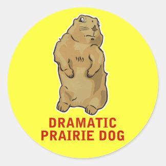 Perro de las praderas dramático pegatina redonda