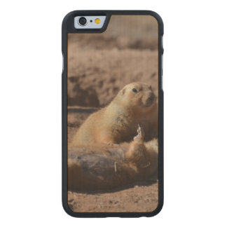 Perro de las praderas que juega absolutamente funda de iPhone 6 carved® slim de arce