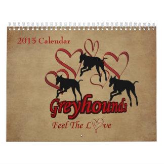 Perro de los galgos y de los diseños 2015 calendarios