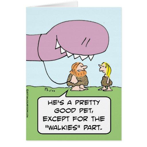perro de los walkies del hombre de las cavernas de tarjeta de felicitación
