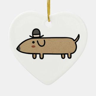 Perro de lujo de la salchicha de Frankfurt con el Adorno Navideño De Cerámica En Forma De Corazón