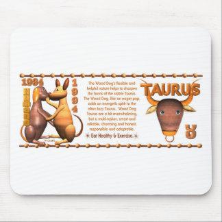Perro de madera 1934 de Yin del tauro del zodiaco  Tapetes De Ratón