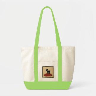 Perro de mirada divertido impar - ejemplo de libro bolsa de mano