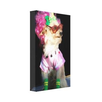 Perro de moda con la impresión de la lona de los v impresiones de lienzo