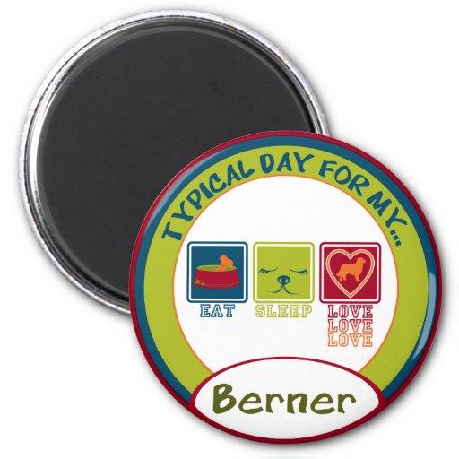 Perro de montaña de Bernese [Berner] Imán Redondo 5 Cm