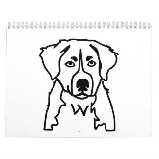 Perro de montaña de Bernese Calendario De Pared
