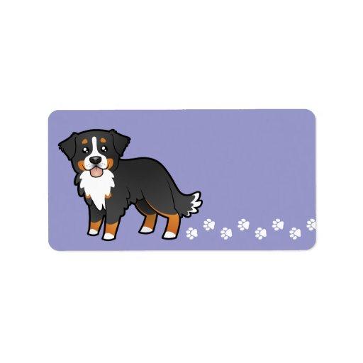 Perro de montaña de Bernese del dibujo animado Etiqueta De Dirección