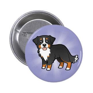 Perro de montaña de Bernese del dibujo animado Pin Redondo 5 Cm