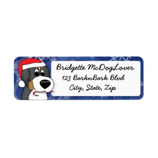 Perro de montaña de Bernese del navidad Etiquetas De Remite