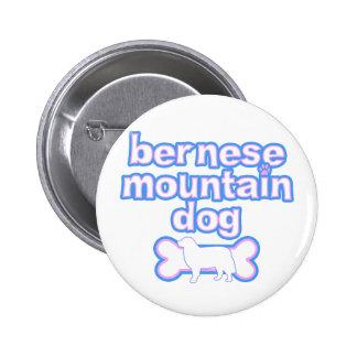 Perro de montaña de Bernese rosado y azul Pin Redondo 5 Cm