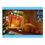 perro de Navidad Postal