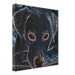 Perro de neón lienzo envuelto para galerias