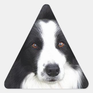 Perro de ovejas negras y blancas pegatina triangular