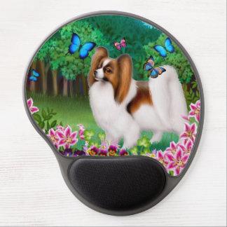 Perro de Papillon con el gel Mousepad de las marip Alfombrilla De Raton Con Gel