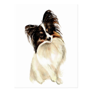 Perro de Papillon de la acuarela, mascota Postal