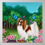 Perro de Papillon en la impresión del jardín Impresiones