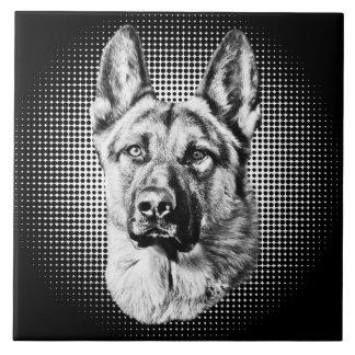 Perro de pastor alemán azulejo cuadrado grande