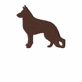 Perro de pastor alemán con la pata en lado trasero polo