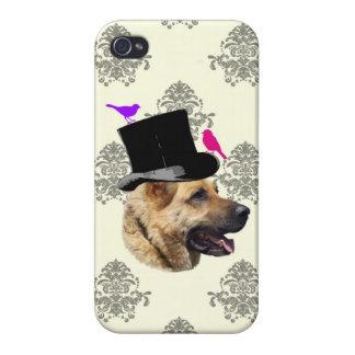 Perro de pastor alemán divertido iPhone 4 funda