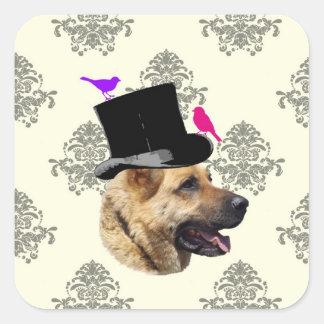 Perro de pastor alemán divertido pegatina cuadrada