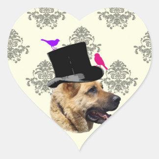 Perro de pastor alemán divertido pegatina en forma de corazón