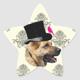 Perro de pastor alemán divertido pegatina en forma de estrella