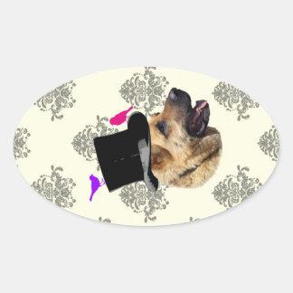 Perro de pastor alemán divertido pegatina ovalada
