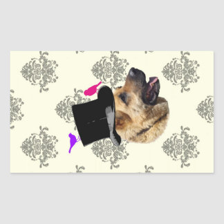 Perro de pastor alemán divertido pegatina rectangular