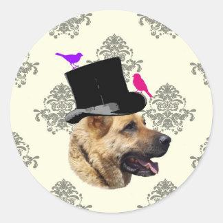 Perro de pastor alemán divertido pegatina redonda