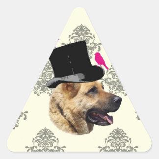 Perro de pastor alemán divertido pegatina triangular