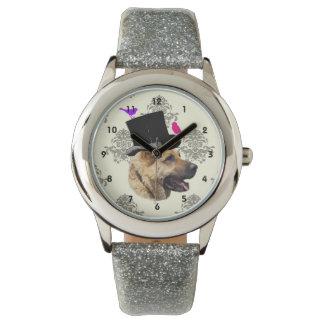 Perro de pastor alemán divertido relojes