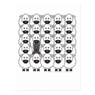 Perro de pastor alemán en las ovejas tarjetas postales