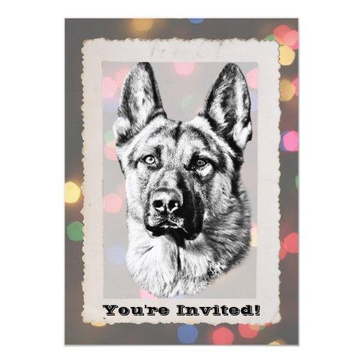 """Perro de pastor alemán invitación 5"""" x 7"""""""