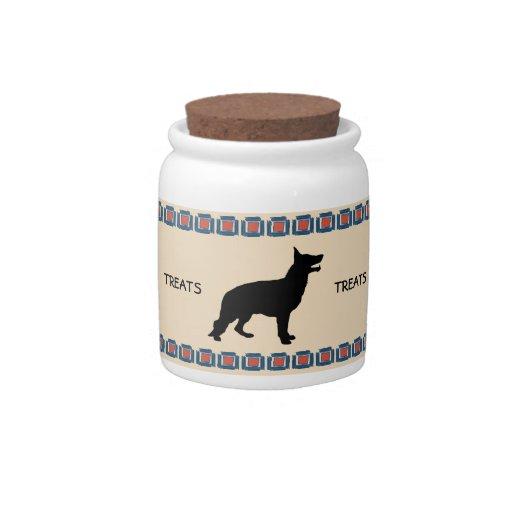 Perro de pastor alemán jarras para caramelos
