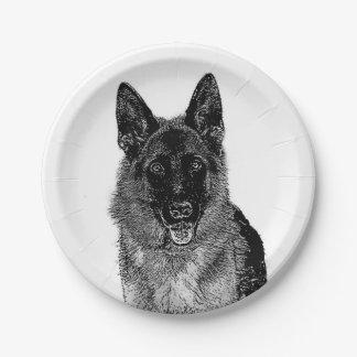 Perro de pastor alemán plato de papel de 7 pulgadas