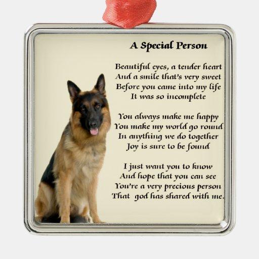 Perro de pastor alemán - poema especial de la adorno cuadrado plateado