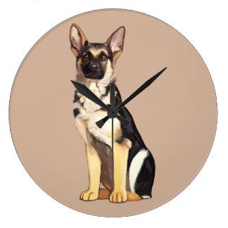 Perro de pastor alemán reloj redondo grande