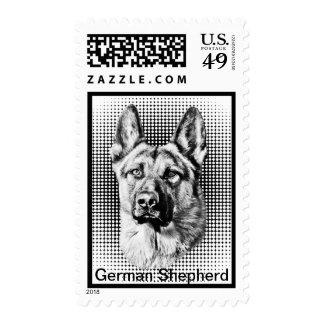 Perro de pastor alemán franqueo