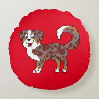 Perro de pastor australiano rojo de Merle Cojín Redondo