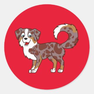 Perro de pastor australiano rojo de Merle Pegatina Redonda