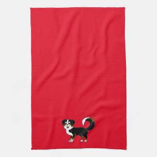 Perro de pastor australiano tricolor negro toallas de cocina