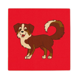 Perro de pastor australiano tricolor rojo posavasos de madera