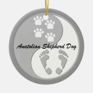 perro de pastor de Anatolia de yang del yin Adorno Navideño Redondo De Cerámica
