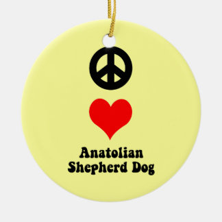 perro de pastor de Anatolia del amor de la paz Adorno Navideño Redondo De Cerámica
