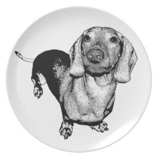 Perro de patas muy cortas blanco y negro de platos de comidas