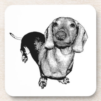 Perro de patas muy cortas blanco y negro de posavasos de bebidas