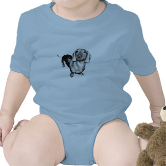 Perro de patas muy cortas blanco y negro de semito trajes de bebé